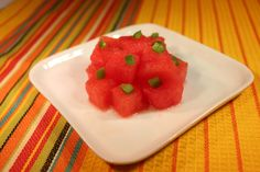 Pickled watermelon with jalapenos. It's a great addition to any Mexican dish.Visit our blog at: http://vcomidablog.blogspot.com/ for the recipe. Enjoy!