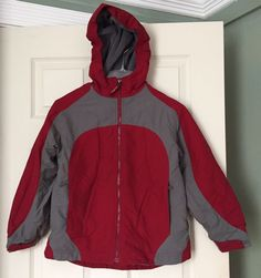 LL Bean Boys M 10-12 Insulated Fleece Lined Winter Ski Hooded Jacket Red Gray #LLBean #BasicJacket