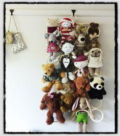 Soft toy storage idea - ikea scarf / tie hanger