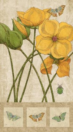 Euphoria Artisan Spirit Yellow Flower Moth Beetle Northcott Fabric Panel 21302 by AliceInStitchesArts on Etsy https://www.etsy.com/listing/466944798/euphoria-artisan-spirit-yellow-flower