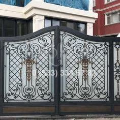 Bahçe Kapıları Steel Gate Design, Iron Gate Design, Metal Garden Gates, Garden Doors, Main Gate, Door Handles, Building, House, Door Ideas