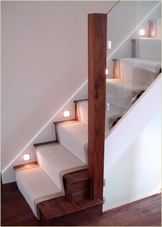 Case StudiesWalnut and glass staircase with clever use of lighting at skirting level - love the clean lines of the design and that its modern without being stark or sterile.Case StudiesSonja Hausladen place Walnut and glass staircase with cl Best Flooring For Basement, Basement Stairs, House Stairs, Carpet Stairs, Basement Ideas, Wood Stairs, Open Stairs, Attic Stairs, Basement Bathroom