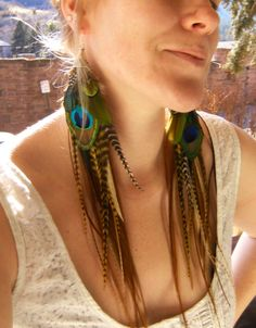 Feather Earrings  Peacock Macaw Long Feather Earrings by xVELVETx, $52.00