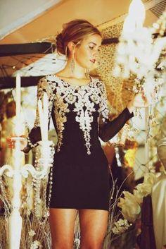 Dress: glitter, gold, black, homecoming dress, prom, bodycon dress, bodycon dress - Wheretoget