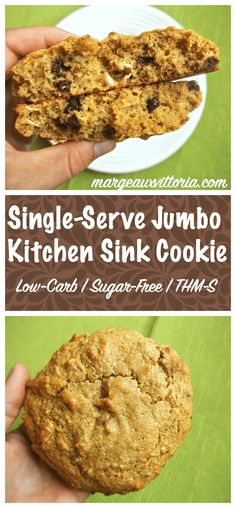 Sometimes you just need one giant healthy cookie! This recipe is low-carb, gluten-free, sugar-free, and THM-S.