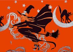 Flying witch - vintage Halloween