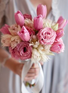 Beautiful. . Pink Tulips, Proteas & Hellebrose..