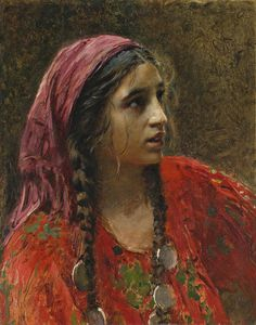 """Painting of a gypsy girl"", Konstantin Makovsky. ——— (Please note that if I were to set the title of the painting, I'd rather call her a Roma girl. ""Gypsy"" carries a lot of bad connotations within. Des Femmes D Gitanes, Portrait Art, Portraits, Portrait Paintings, Gypsy Women, Gypsy Girls, Mary Cassatt, Vintage Gypsy, Gypsy Life"