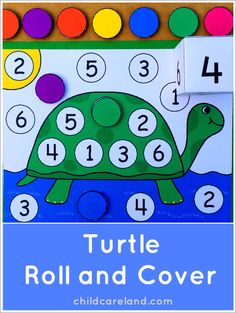 Turtle Roll and Cover . a great addition to a math center. Could make other ocean-y animal too. Numbers Preschool, Preschool Lesson Plans, Preschool Themes, Preschool Classroom, Kindergarten Math, Preschool Activities, April Preschool, Reptiles Preschool, Pond Animals