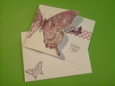 Close Up of Butterfly Notecard with Matching Envelope