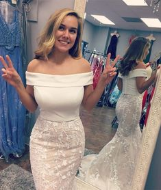 Off the shoulder Two Piece Mermaid Long Prom Dress from modseleystore 409eaf54b817