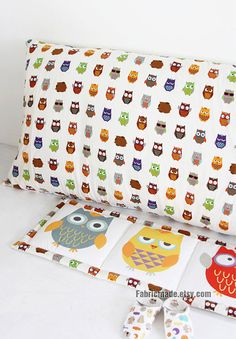 Colorful Owl Fabric, Owl Cotton Linen Fabric, Kids Home Decor Fabric - Fabric by the yard 1/2 yard