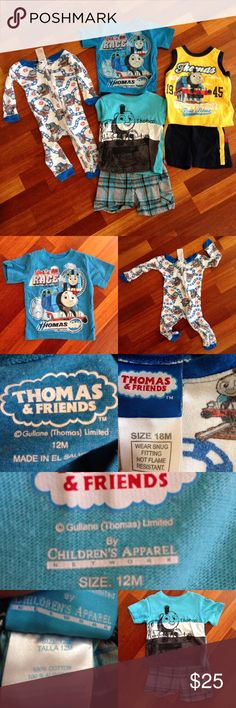 THOMAS & FRIENDS Outfits 12 & 18mos. THOMAS & FRIENDS Outfits. Blue shirt 12mos. Pj's18mos. I found they are tight fits more like 12mos. Yellow set is 12mos. Light blue set is 12mos. If your little one loves Thomes he will love these. Thanks Thomas & Friends Matching Sets