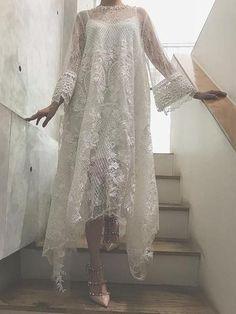 Party Dresses white maxi dress white lace maxi dress all white dress – uooklly Kebaya Modern Dress, Kebaya Dress, Dress Pesta, Dress Brokat Modern, Abaya Fashion, Fashion Dresses, White Lace Maxi Dress, Mode Abaya, Pakistani Dress Design