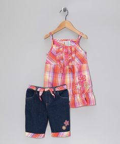Take a look at this Orange Plaid Ruffle Tank & Denim Shorts - Toddler & Girls by Young Hearts on #zulily today!