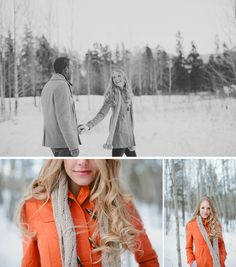 I could pin every shot from this engagement session. Love the pop of orange against the winter mountain landscape!