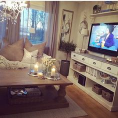Cozy Living Room Ideas - Love this but hate the tv being on the wall....so over it!
