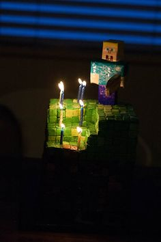 holly- for aleric-Minecraft party cake