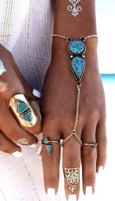 Bohemian Turkish Silver Chain Adjustable Fashion Bracelets & Bangles Natural Turquoise Slave Bracelet Anklets For Women Jewelry
