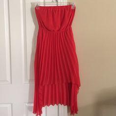 Orange Pleated Hi-Low Dress Pleated hi-low sleeveless sundress. Barely worn. Dresses High Low