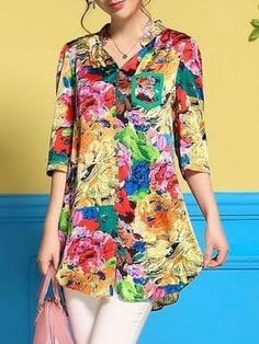 Stylewe Floral Multicolor Women Tunics Casual Polyester V Neck Printed Daytime Tunics African Blouses, Fashion Sewing, Women's Fashion Dresses, Bunt, Blouse Designs, Trendy Fashion, Tunic Tops, Clothes For Women, Printed Blouse