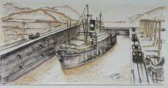 Celebrando lo 100 añod del Canal de Panama...mural sobre papel 3 x 8 pies....contizas derwet