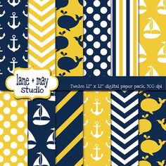 navy white and yellow nautical / whale digital by laneandmay, $6.00