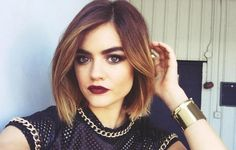 Lucy Hale shows off newly dyed hair.