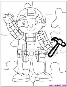 Puzzle para recortar y colorear de un albañil
