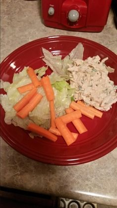 Chicken salad with carrots and lettuce