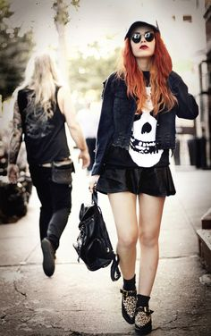 1a7dc08bbb84 Torn denim jacket- Choies Leather skirt- Romwe Misfits t-shirt- Second hand  Backpack- Yes Style Shoes – Yes Style