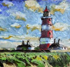 Happisburgh lighthouse painted with oil bars