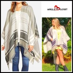 "Boho Cape Wrap Plaid Blanket Scarf RETAIL PRICE: $68 BP NORDSTROM  💟 NEW WITH TAGS 💟 Boho Blanket Wrap Poncho Scarf  * An incredibly soft loose knit construction  * Allover rustic plaid print w/delicate fringe.  * Cozy fabric & a draped loose knit oversized boyfriend fit.  * About 25"" X 55"" length; One size fits most. ***Reversible w/a different print on each side.  Fabric: 100% acrylic  Color: Multi Item:92400  🚫No Trades🚫 ✅ Offers Considered*/Bundle Discounts✅ *Please use the 'offer'…"