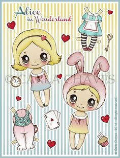 Cute Alice paper doll printable by ribonitachocolat on Etsy, $5.00* 1500 free paper dolls at Arielle Gabriels International Paper Doll Society also free paper dolls at The China Adventures of Arielle Gabriel *