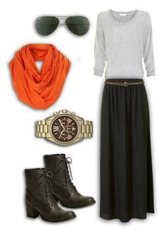 Cozy Fall Look. LOVE the orange scarf.