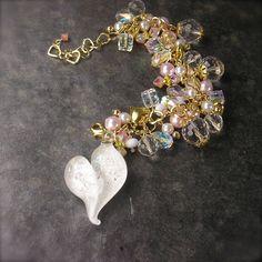 Lampwork Heart Bracelet in Wedding White and by XannasJewelryBox, $59.00