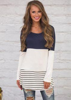 Details about New Women s Round Neck Long Sleeve Back Lace Stitching Stripe  Loose T-shirt. Navy BlouseFloral BlouseBlack BlouseTunic TopsLong ... b9072437f957