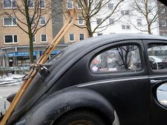vintage VW beetle & skis