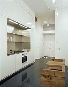 stainless steel niche in gloss white cabinets interesting built in lighting