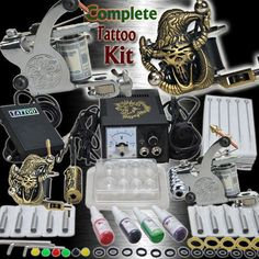 Professional Complete Tattoo Kit 2 Top Machine Gun 4 Color Ink 50 Needles Power Supply >>> Want to know more, click on the image-affiliate link. #BeautySalonEquipment