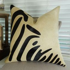 Items similar to Zebra Black on Beige Cowhide Pillow Cover - Zebra Pattern Cowhide Pillow - Zebra Beige Devore Pillow - Zebra Brazilian Cowhide Pillow on Etsy