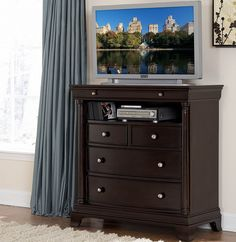 Homelegance Inglewood TV Chest. Metal Glide. Dovetailed Drawer. Wood and metal drawer pulls accent the traditional case pieces. Inglewood Collection is presented in a deep cherry finish and features two mirror options to complement each bed swivel or rectangular stationary.