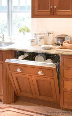 Idea of the Day: Neutral & Bright: Light wood kitchens gallery. (By Crown Point Cabinetry) Lovely, light wood beaded inset panelized dishwasher Rustic Kitchen, New Kitchen, Kitchen Ideas, Kitchen Designs, Black Wood Texture, Black Wood Floors, Crown Point Cabinetry, Dark Wood Bed, Light Wood Kitchens