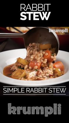 A good easy rabbit stew recipe is as old school as it gets this one is delightfully homely, packed with flavour and features the much-underused pearl barley. Meat Recipes, Slow Cooker Recipes, Crockpot Recipes, Dinner Recipes, Cooking Recipes, Healthy Recipes, Game Recipes, Slow Cooker Steak, Easy Rabbit Recipe