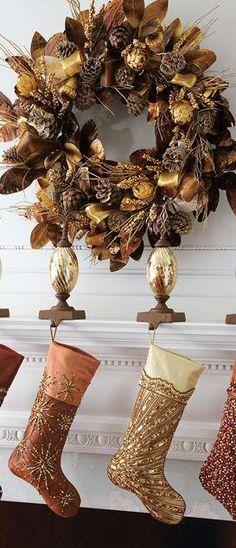 decoracin de navidad color cafe y cobrizo