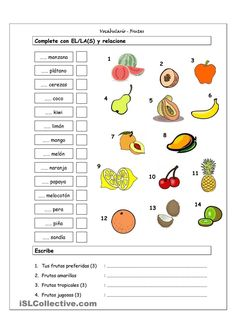 Good for a Spanish food unit. Match the fruit word to the picture.