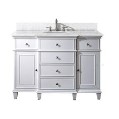 Avanity Windsor 49 in. W x 22 in. D x 35 in. H Vanity in White with Marble Vanity Top in Carrera White and White Basin-WINDSOR-VS48-WT-C - The Home Depot