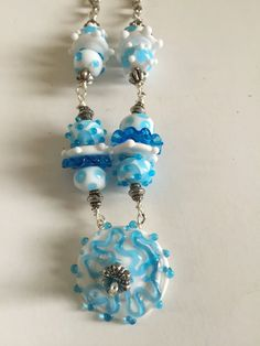 Lampwork Blue And White Necklace by BeadingSista on Etsy