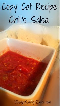 I LOVE Chili's Salsa :) Full of flavor and gluten - free and here is the recipe ! Takes only a couple of minutes to whip together.