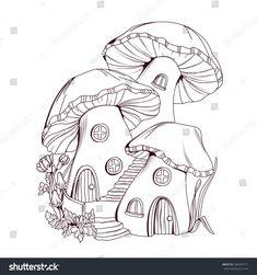 Livre de couleurs: Chambres de champignons: image vectorielle de stock (libre de droits) 586304171
